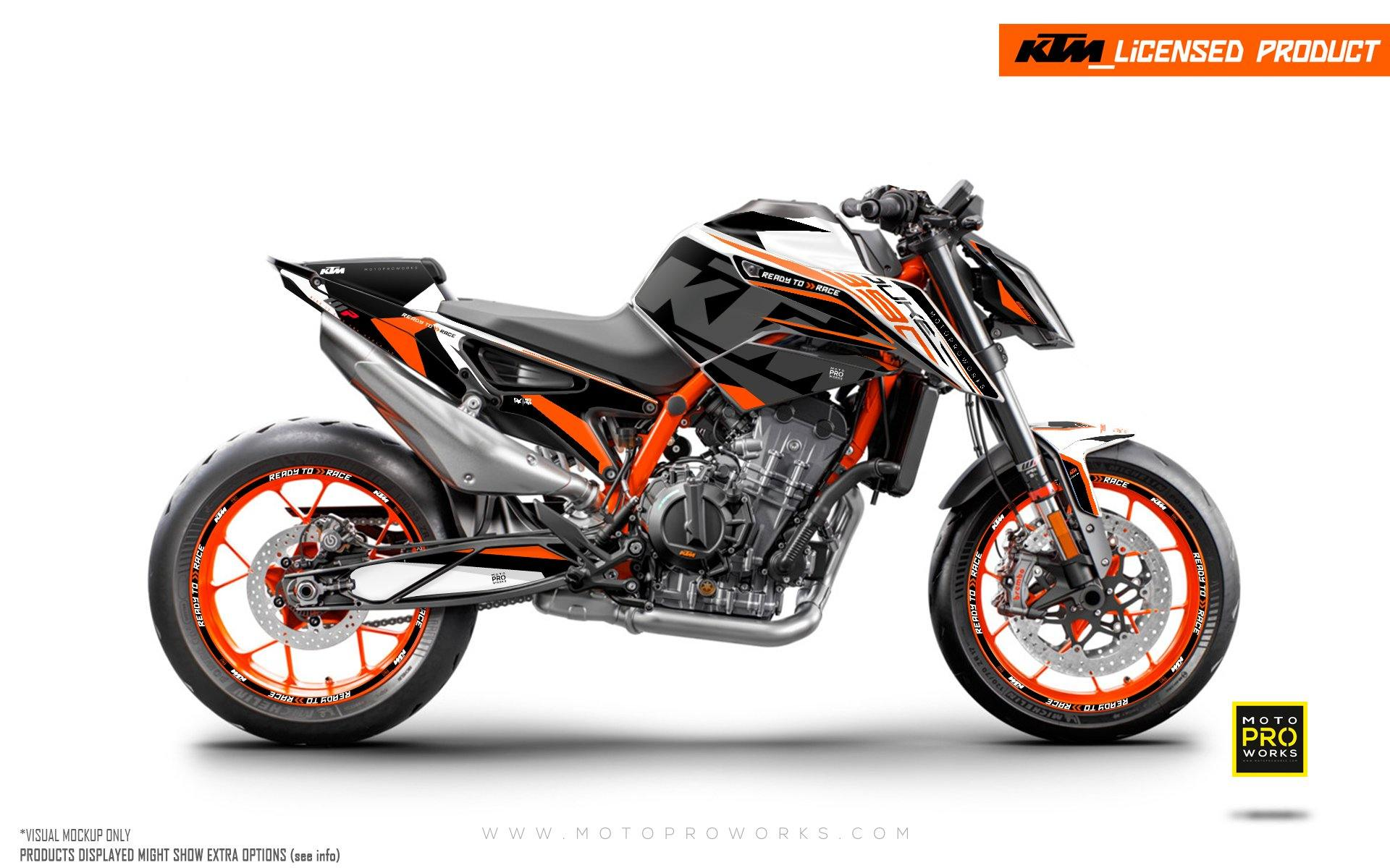 "KTM 890 Duke R GRAPHIC KIT - ""Torque"" (White/Black/Orange)"