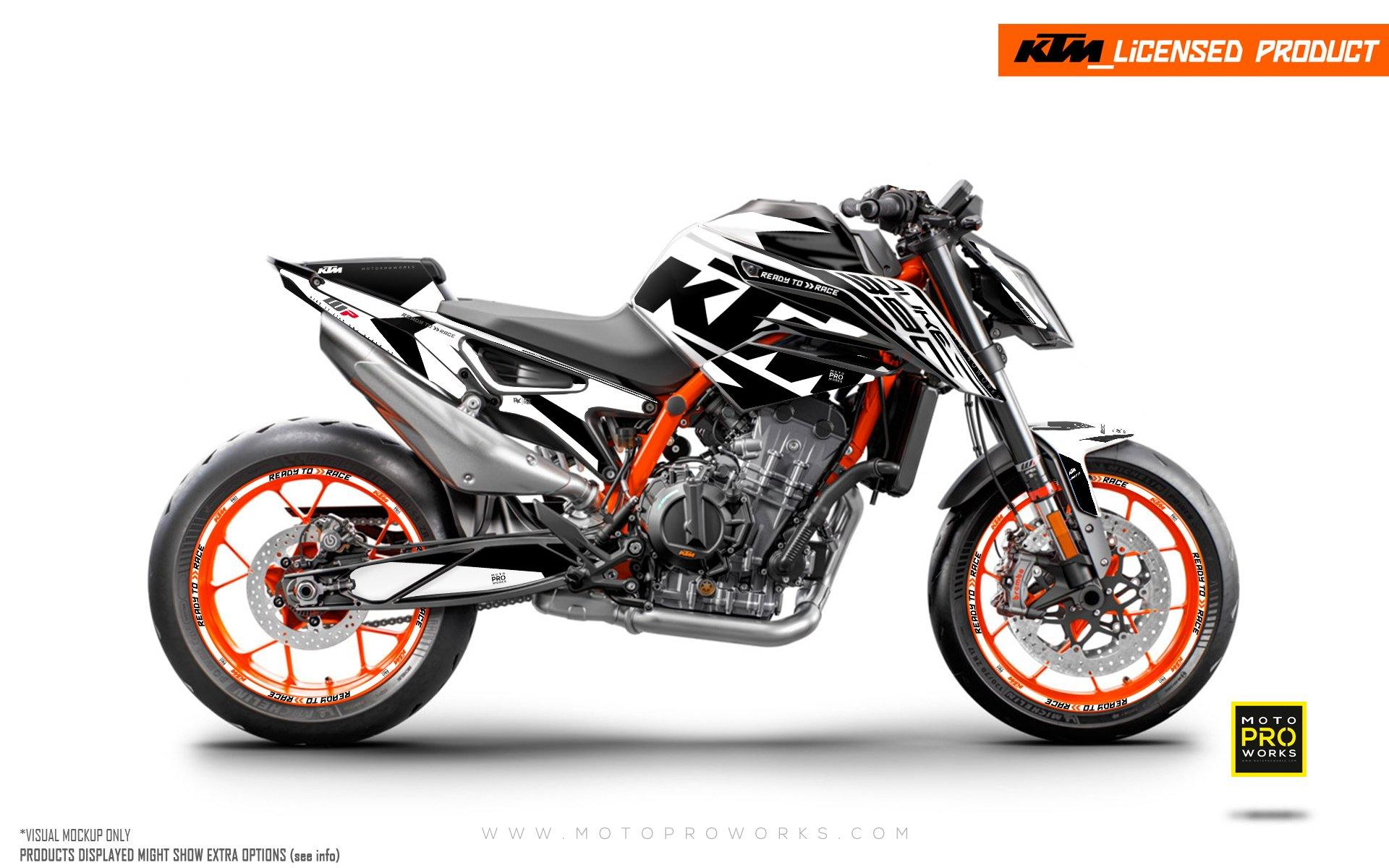 "KTM 890 Duke R GRAPHIC KIT - ""Torque"" (White/Black)"