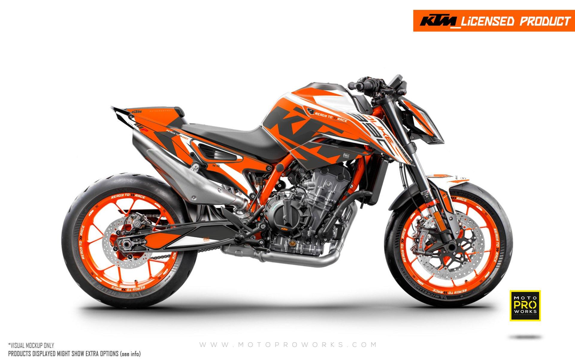 "KTM 890 Duke R GRAPHIC KIT - ""Torque"" (White/Orange)"