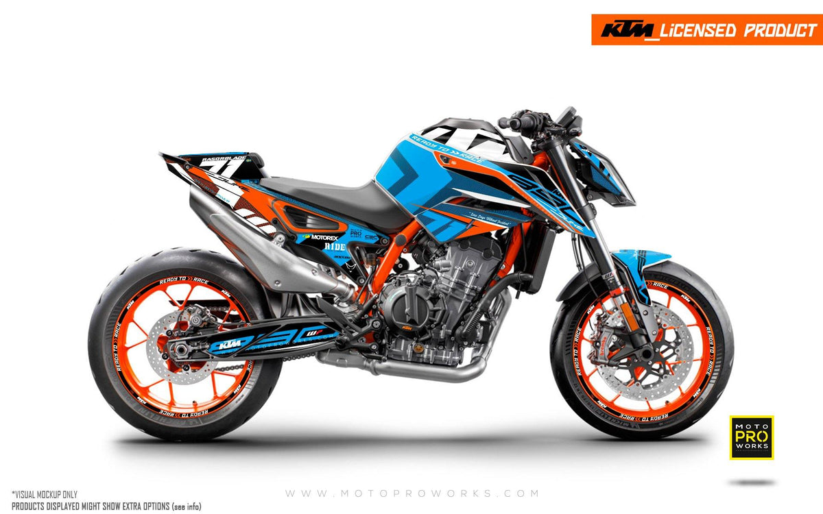 "KTM 890 Duke R GRAPHIC KIT - ""Rasorblade"" (Blue)"