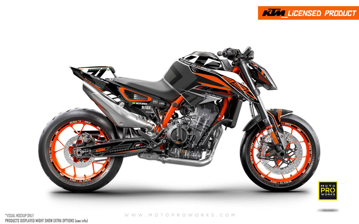"KTM 890 Duke R GRAPHIC KIT - ""Rasorblade"" (Black/Orange)"