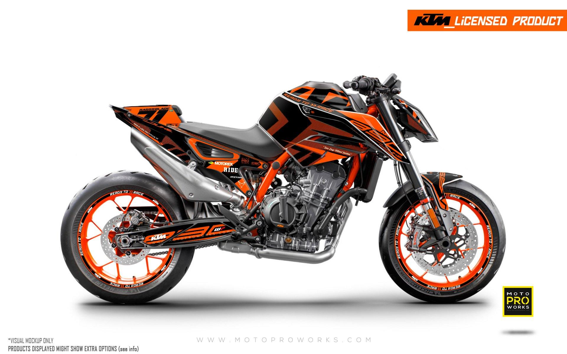 "KTM 890 Duke R GRAPHIC KIT - ""Rasorblade"" (Orange)"