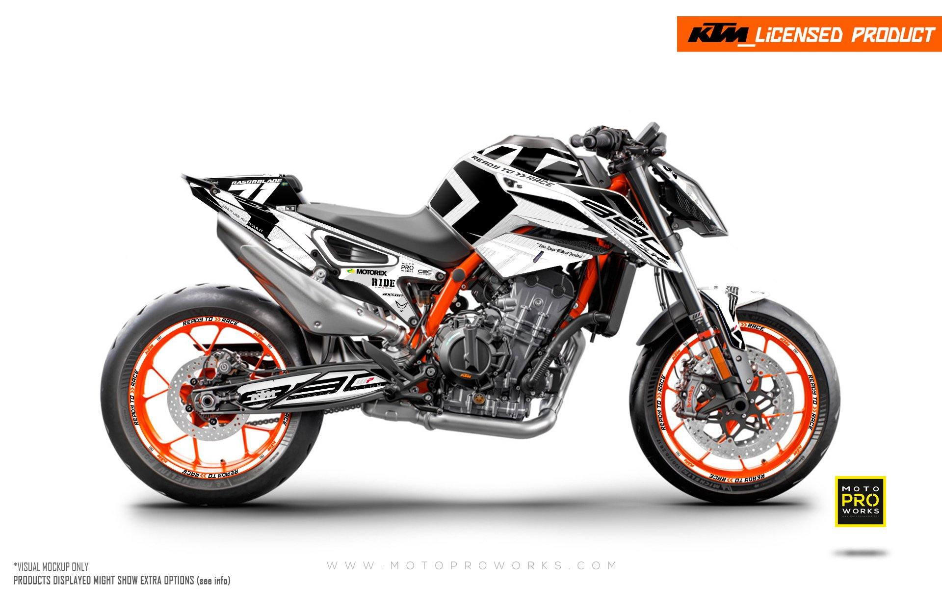 "KTM 890 Duke R GRAPHIC KIT - ""Rasorblade"" (White)"