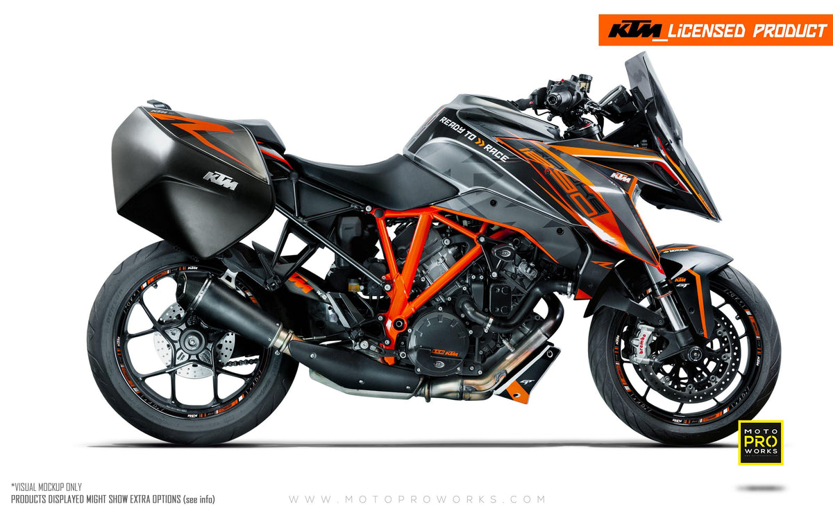"KTM Superduke 1290GT GRAPHIC KIT - ""Torque"" (Black/Orange)"