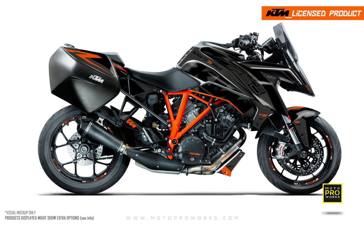 "KTM Superduke 1290GT GRAPHIC KIT - ""Torque"" (Grey/Black)"