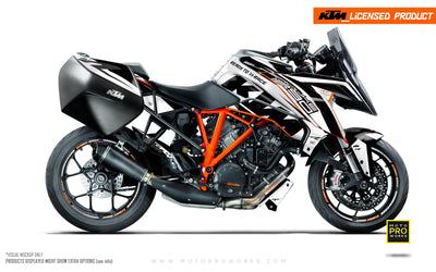 "KTM Superduke 1290GT GRAPHIC KIT - ""Torque"" (White/Black)"