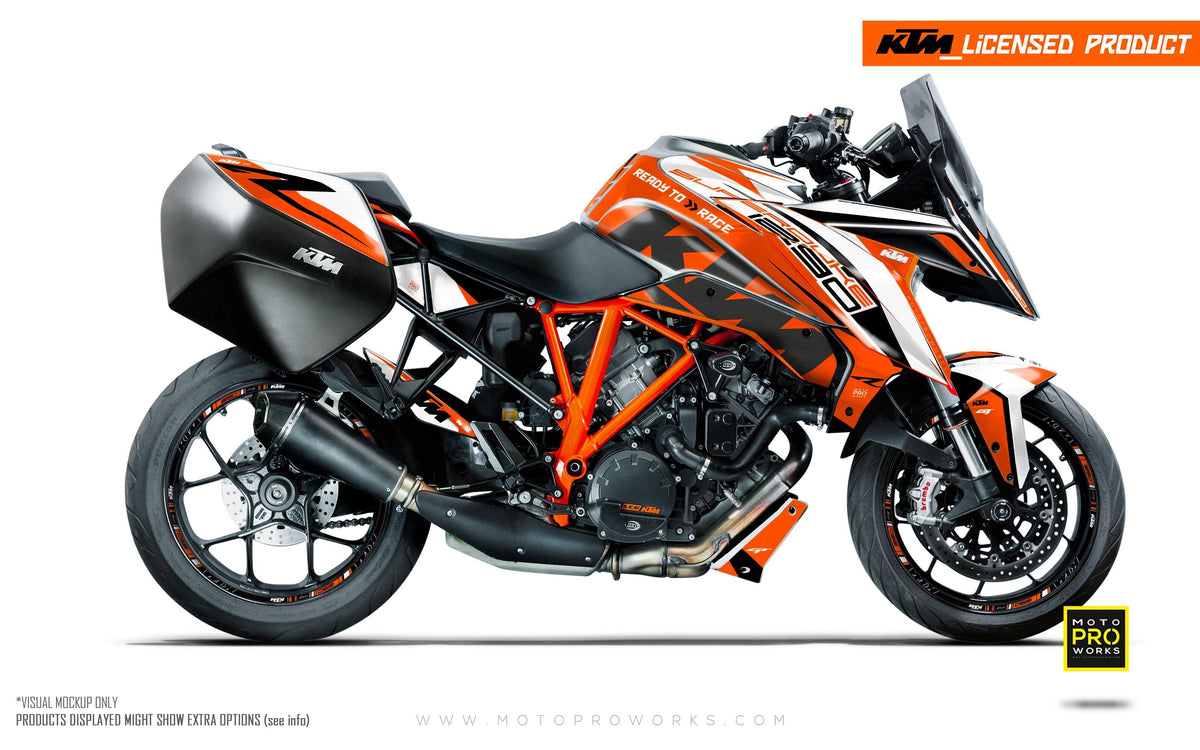 "KTM Superduke 1290GT GRAPHIC KIT - ""Torque"" (White/Orange)"