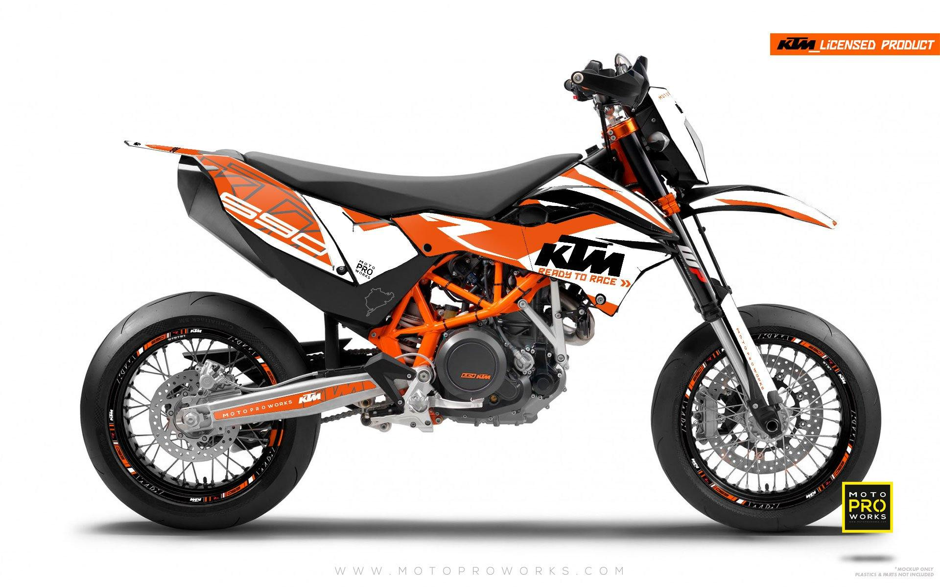 "KTM GRAPHIC KIT - ""ABSTRAKT"" (orange/white) - MotoProWorks 