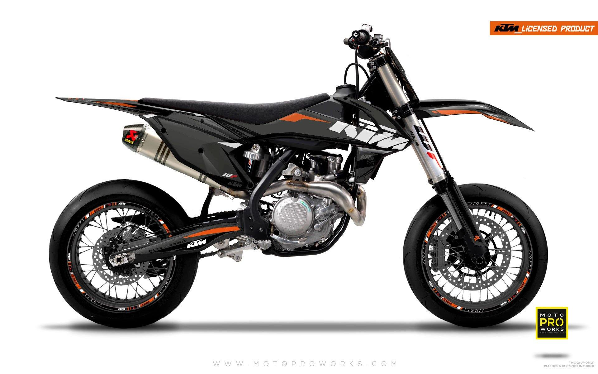 "KTM GRAPHIC KIT - ""EDGE"" (grey/orange) - MotoProWorks 