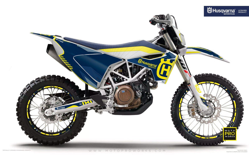 "Husqvarna GRAPHIC KIT - ""FACTOR"" (Blue/yellow) - MotoProWorks 