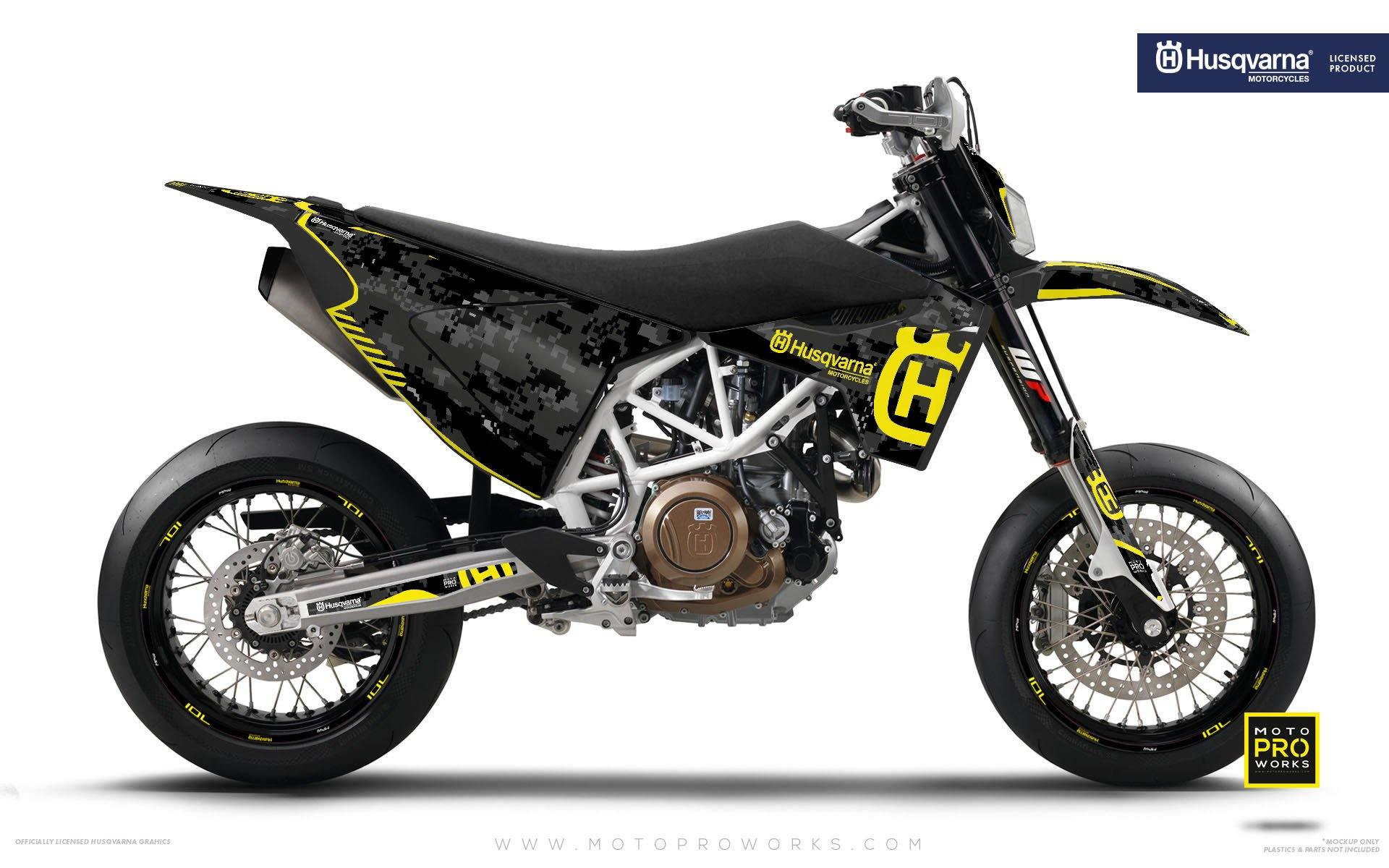 "Husqvarna GRAPHIC KIT - ""FACTOR"" (Marpatcamo/yellow) - MotoProWorks 