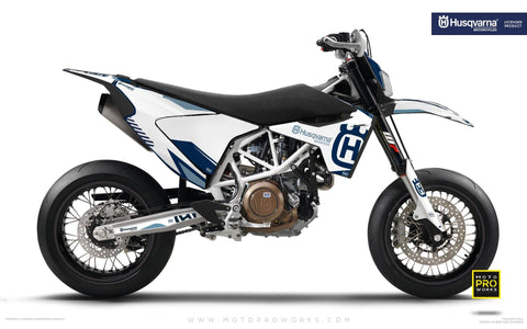 "Husqvarna GRAPHIC KIT - ""FACTOR"" (White/blue) - MotoProWorks 