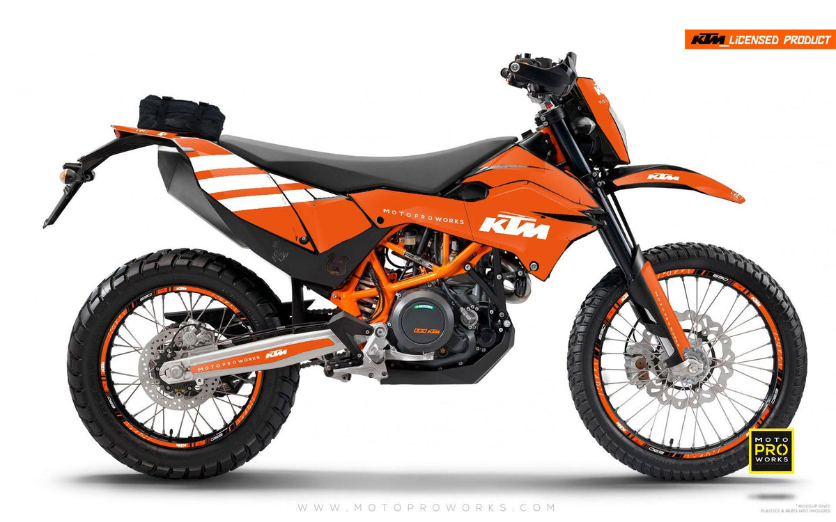"KTM GRAPHIC KIT - ""FLAT ICON"" (orange/white) - MotoProWorks 