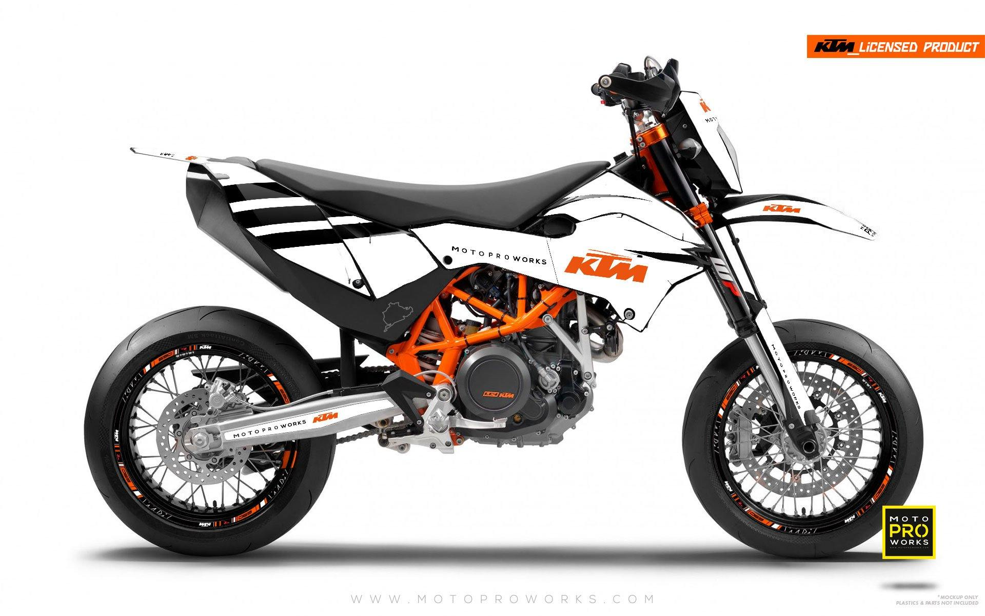 "KTM GRAPHIC KIT - ""FLAT ICON"" (white) - MotoProWorks 