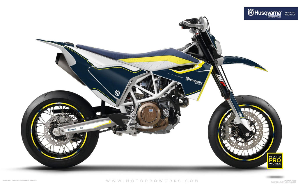 "Husqvarna GRAPHIC KIT - ""HERITAGE"" (Blue) - MotoProWorks 