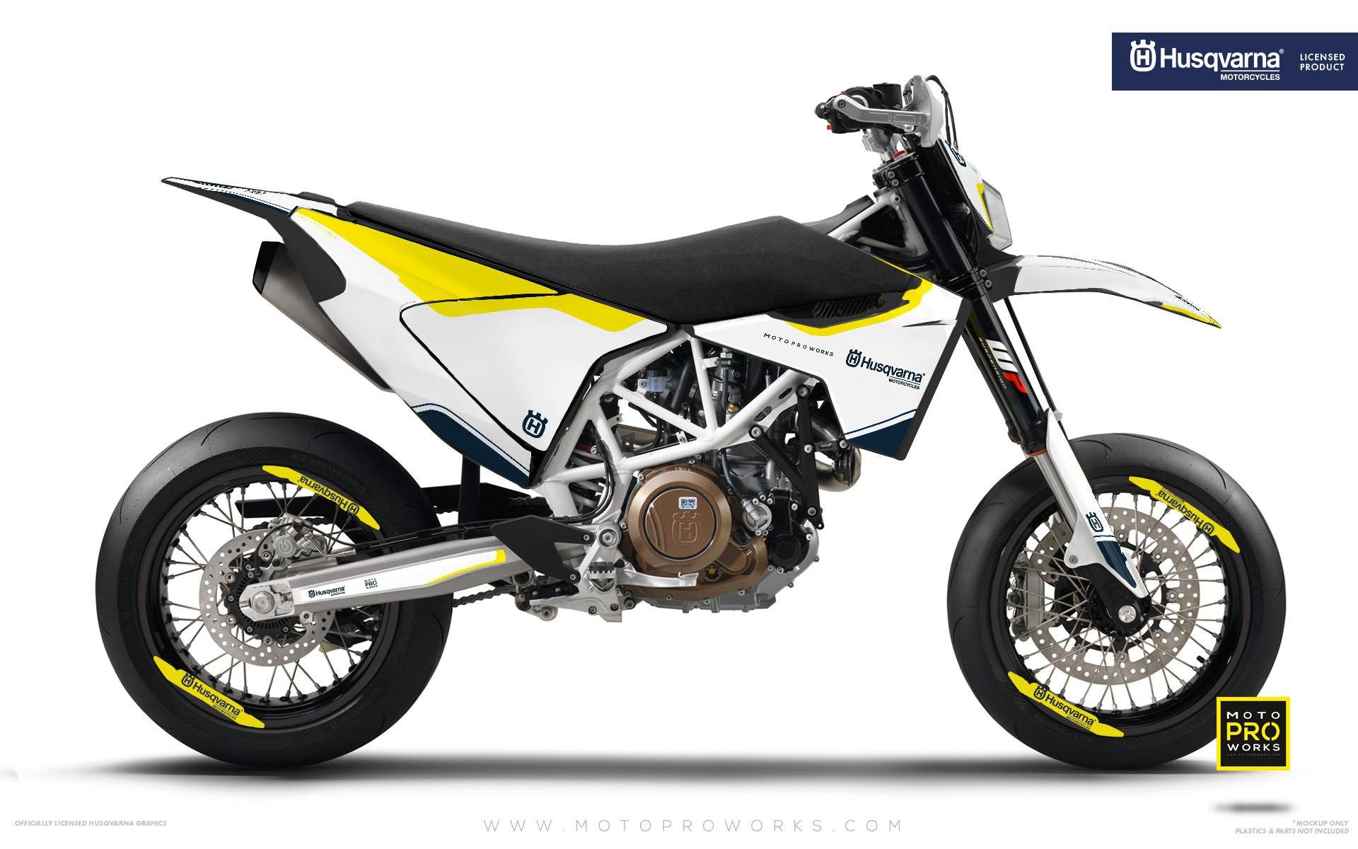 "Husqvarna GRAPHIC KIT - ""HERITAGE"" (White) - MotoProWorks 