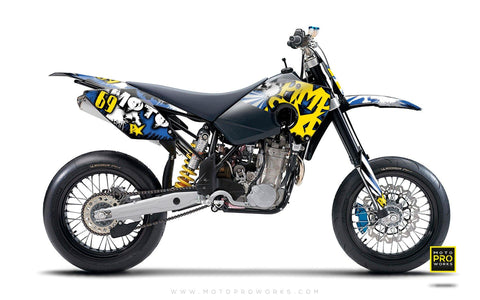 "Husaberg GRAPHIC KIT - ""RISING SUNNY"" (blue) - MotoProWorks 