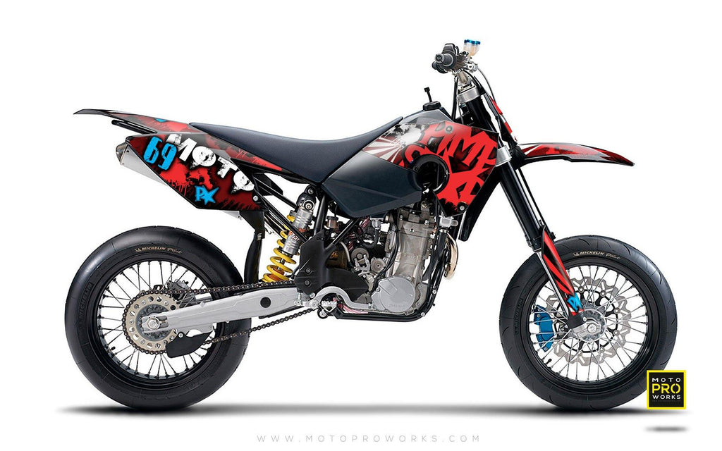 "Husaberg GRAPHIC KIT - ""RISING SUNNY"" (red) - MotoProWorks 