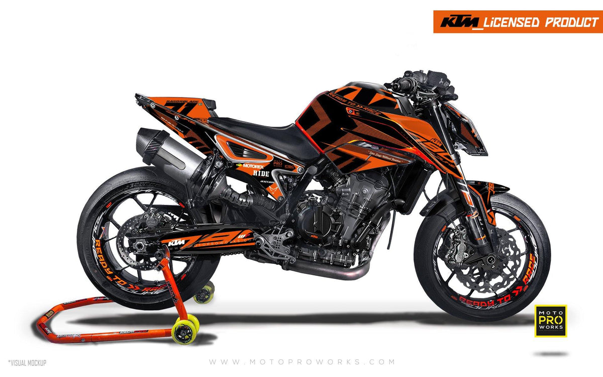 "KTM 790 Duke GRAPHIC KIT - ""Rasorblade"" (Orange) - MotoProWorks 