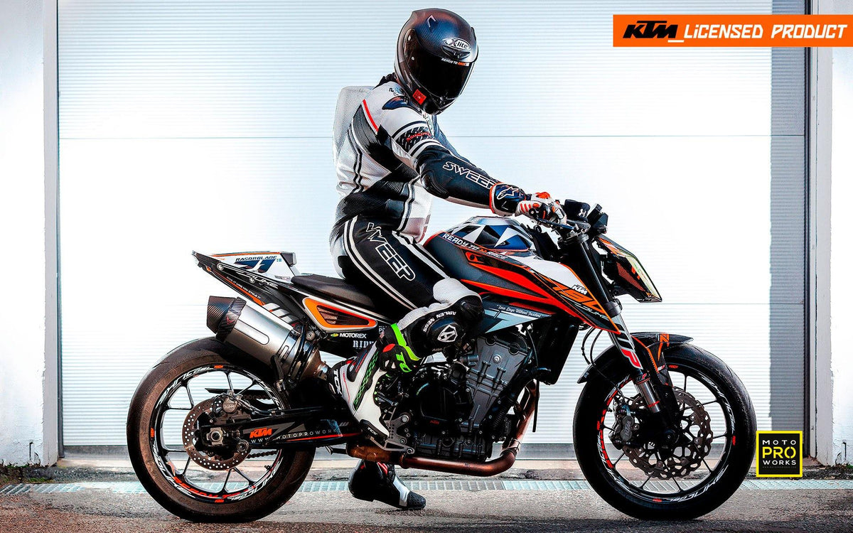 "KTM 790 Duke GRAPHIC KIT - ""Rasorblade"" (Black/Orange) - MotoProWorks 