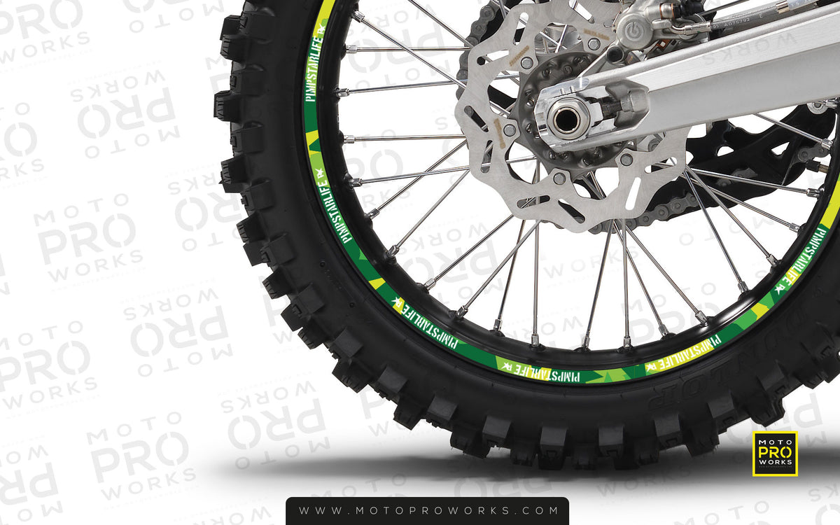 "Rim Stripes - ""M90"" Pimpstar (green) - MotoProWorks 