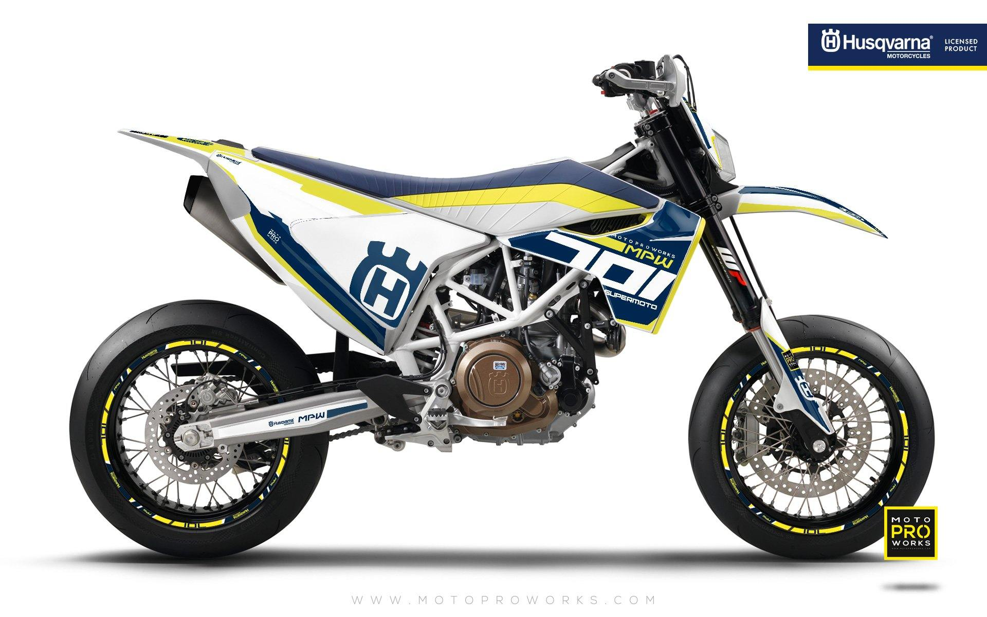 "Husqvarna GRAPHIC KIT - ""SEVENOHONE"" (Blue/white) - MotoProWorks 