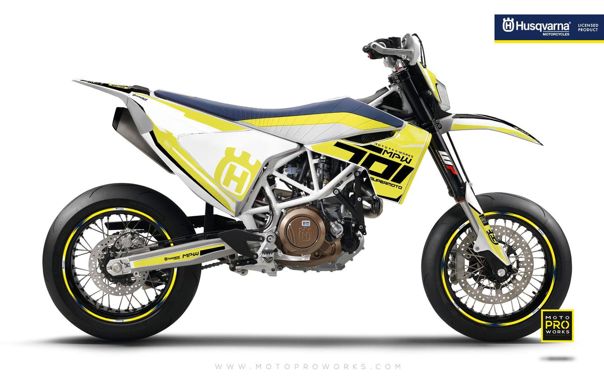 "Husqvarna GRAPHIC KIT - ""SEVENOHONE"" (Yellow) - MotoProWorks 