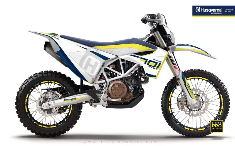 "Husqvarna GRAPHIC KIT - ""SEVENOHTWO"" (White) - MotoProWorks 