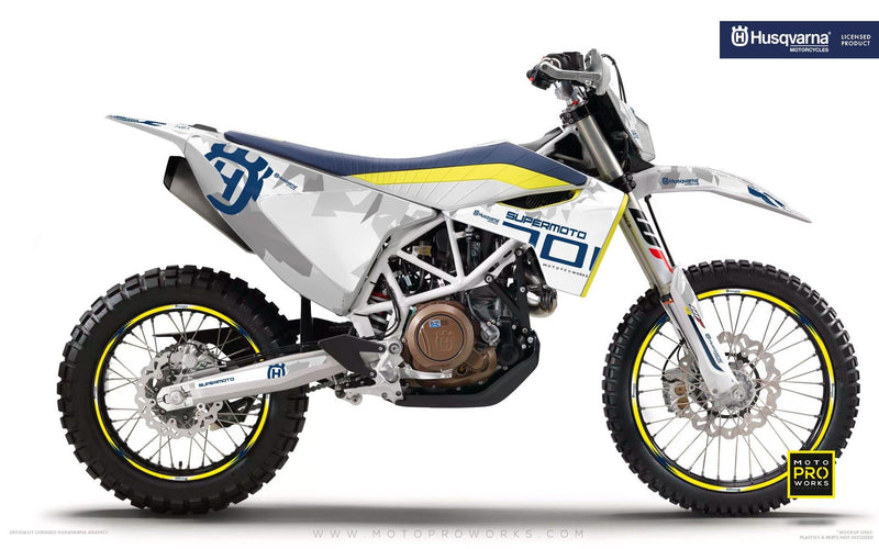 "Husqvarna GRAPHIC KIT - ""SPARK"" (White) - MotoProWorks 