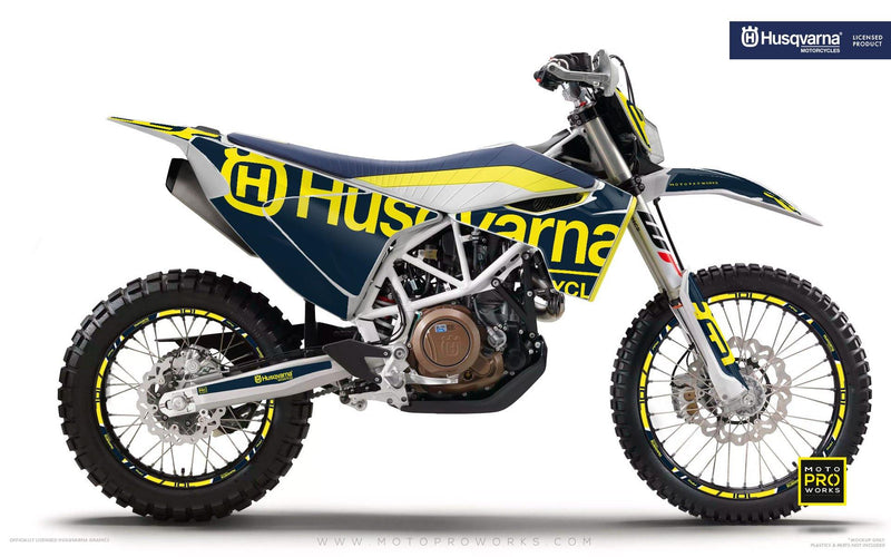 "Husqvarna GRAPHIC KIT - ""STATEMENT"" (Blue) - MotoProWorks 