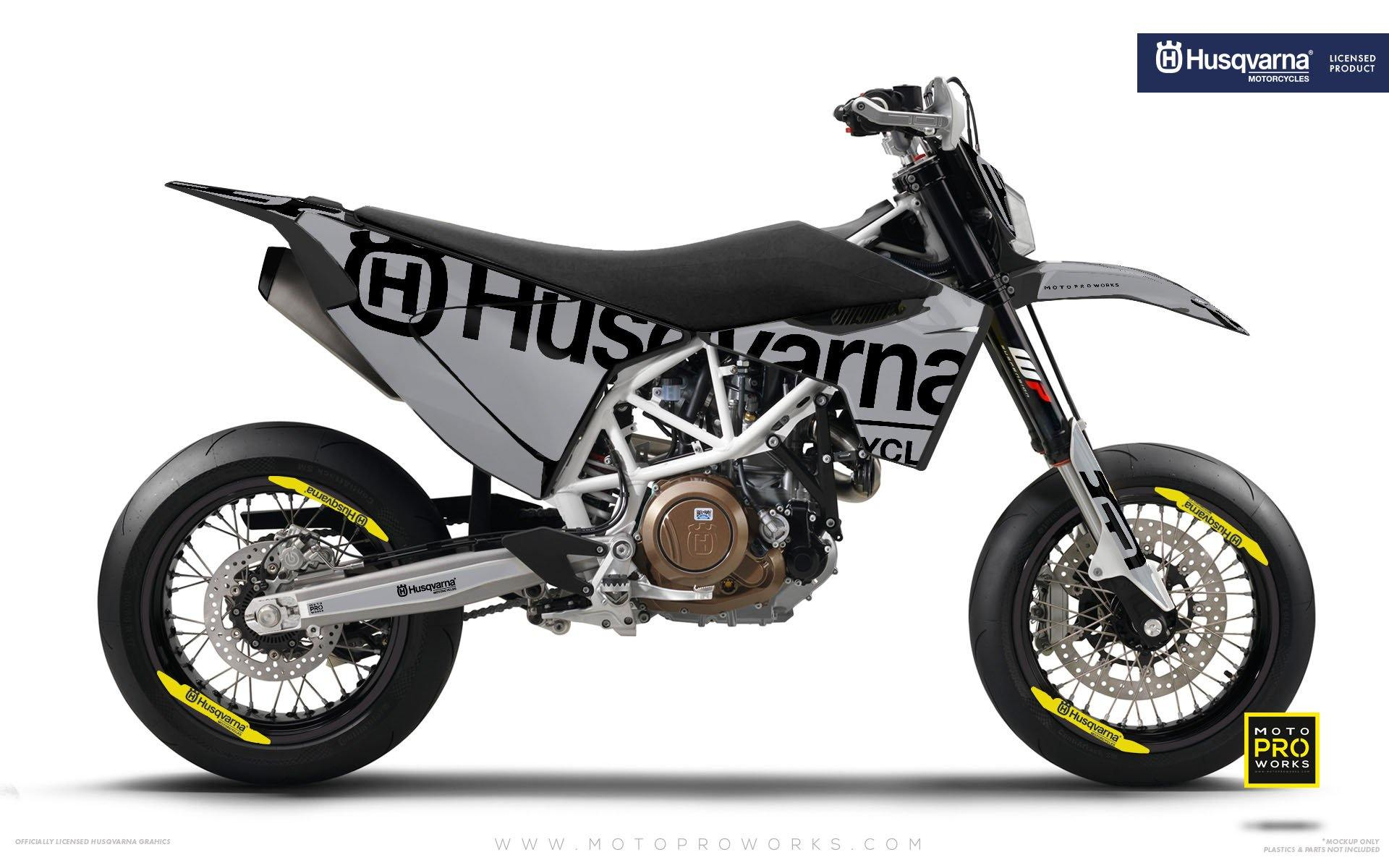 "Husqvarna GRAPHIC KIT - ""STATEMENT"" (Grey) - MotoProWorks 
