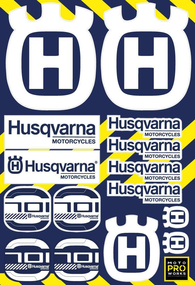 "Husqvarna Sticker Sheets - ""701"" (white) - MotoProWorks 