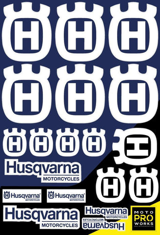 "Husqvarna Sticker Sheets - ""Large logo"" (white) - MotoProWorks 
