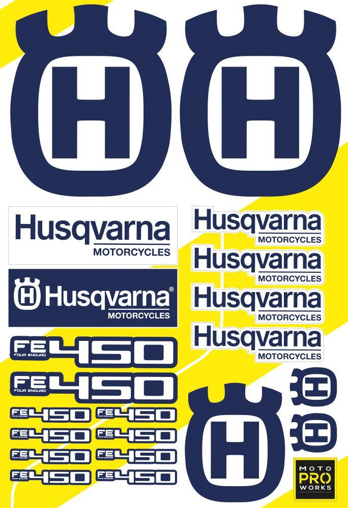 "Husqvarna Sticker Sheets - ""CC/Logo"" (blue) - MotoProWorks 