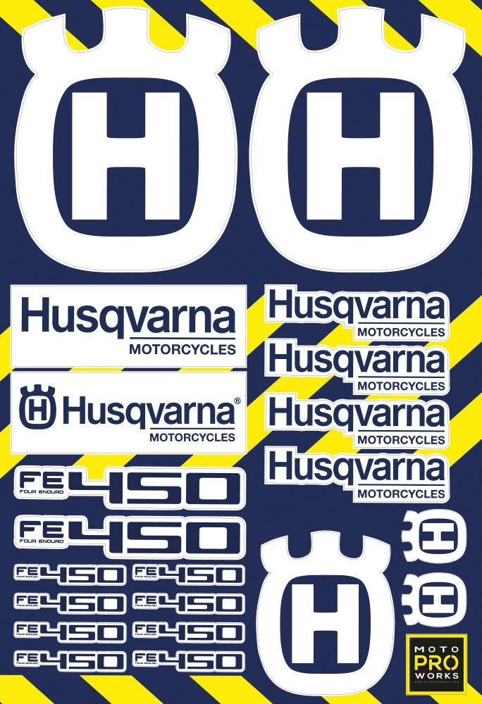 "Husqvarna Sticker Sheets - ""CC/Logo"" (white) - MotoProWorks 