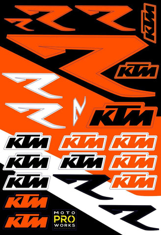 "KTM Sticker Sheets - ""R"" - MotoProWorks 