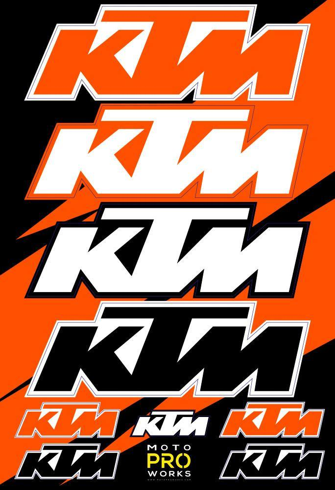 "KTM Sticker Sheets - ""Large logo"" - MotoProWorks 