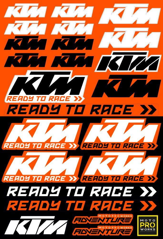 "KTM Sticker Sheets - ""Race"" - MotoProWorks 