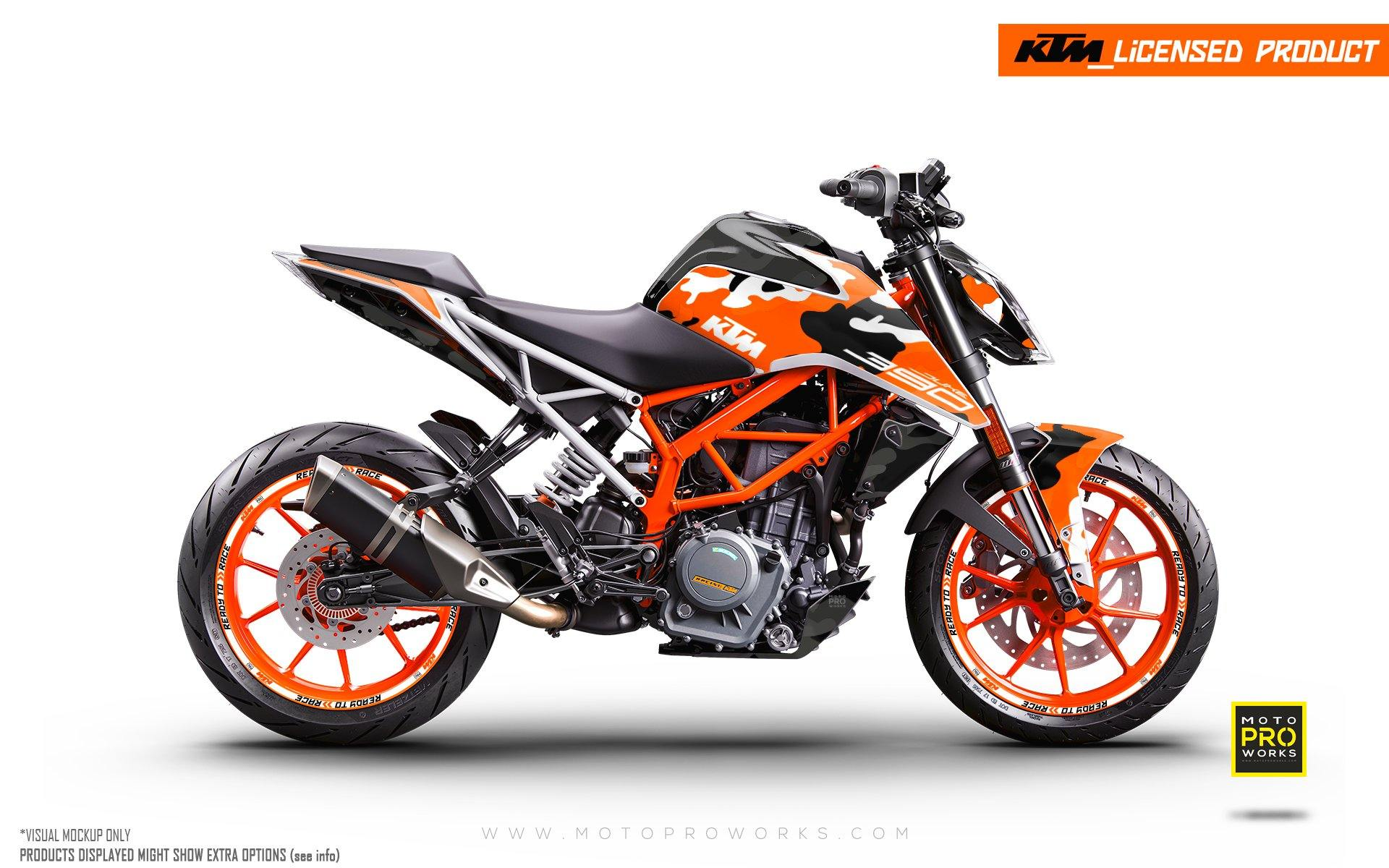 "125/200/250/390 Duke GRAPHIC KIT - ""Camo"" (Orange)"