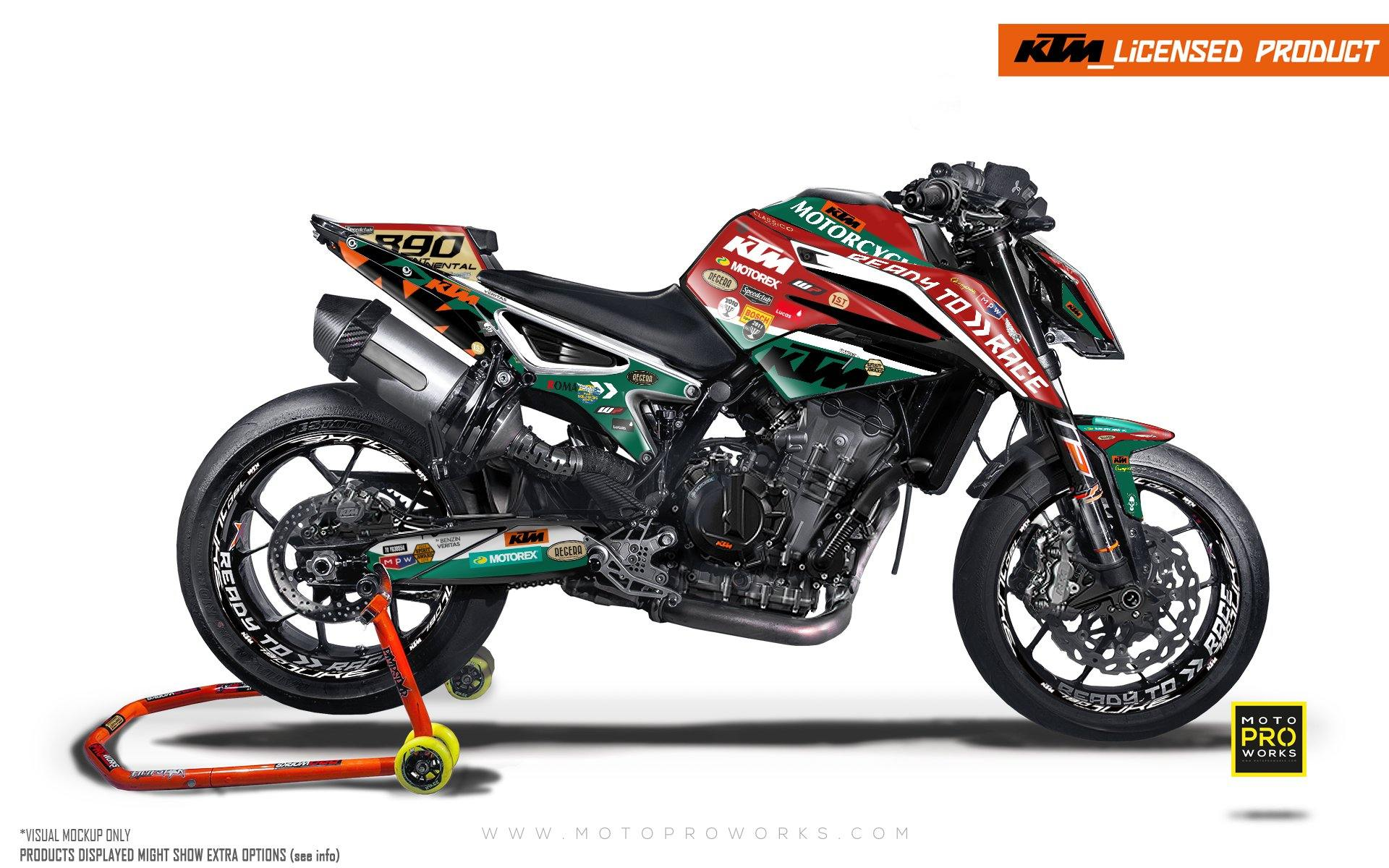 "KTM 790/890 R Duke GRAPHIC KIT - ""Regera"" (Red/Green)"