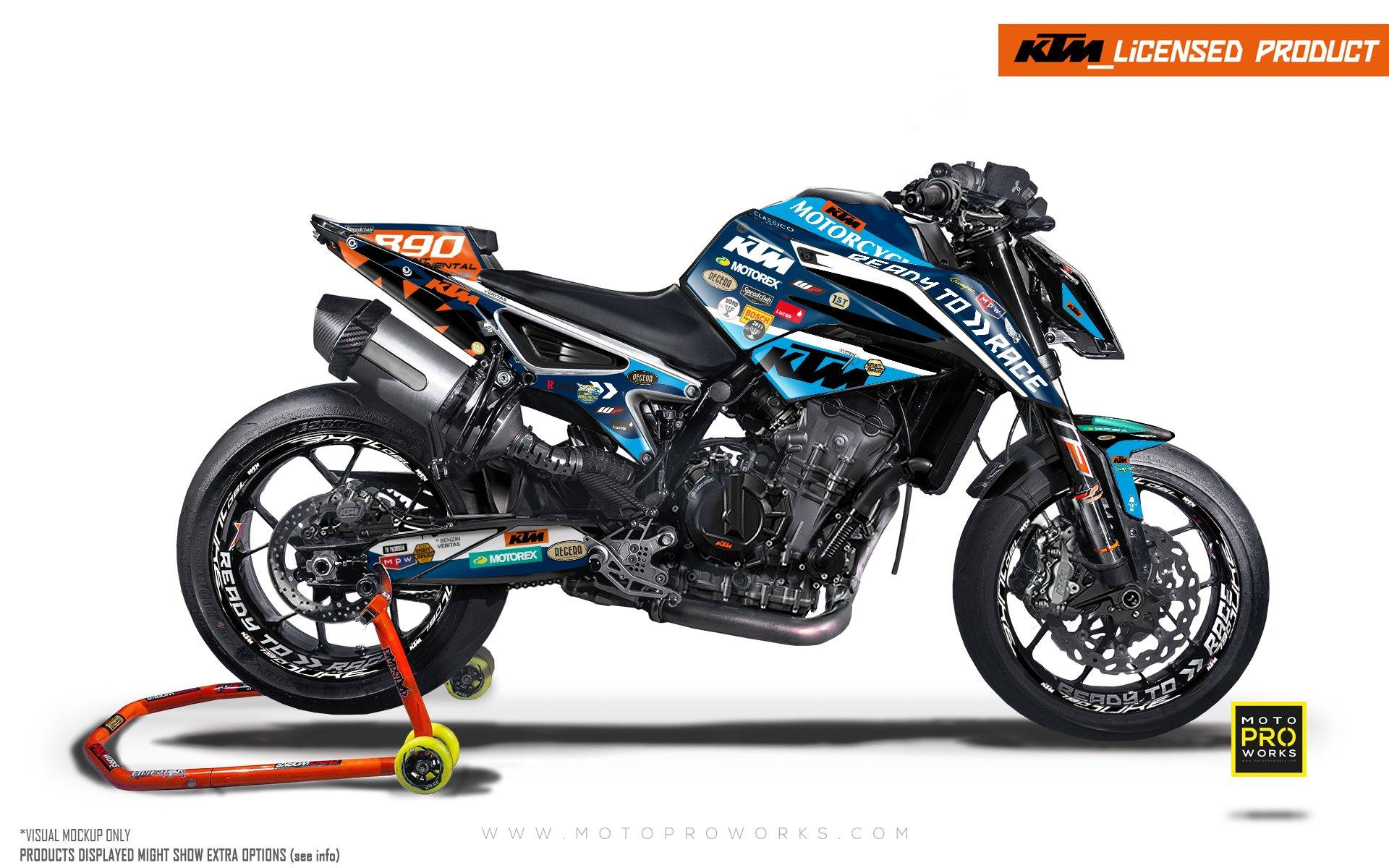"KTM 790/890 R Duke GRAPHIC KIT - ""Regera"" (Blue)"