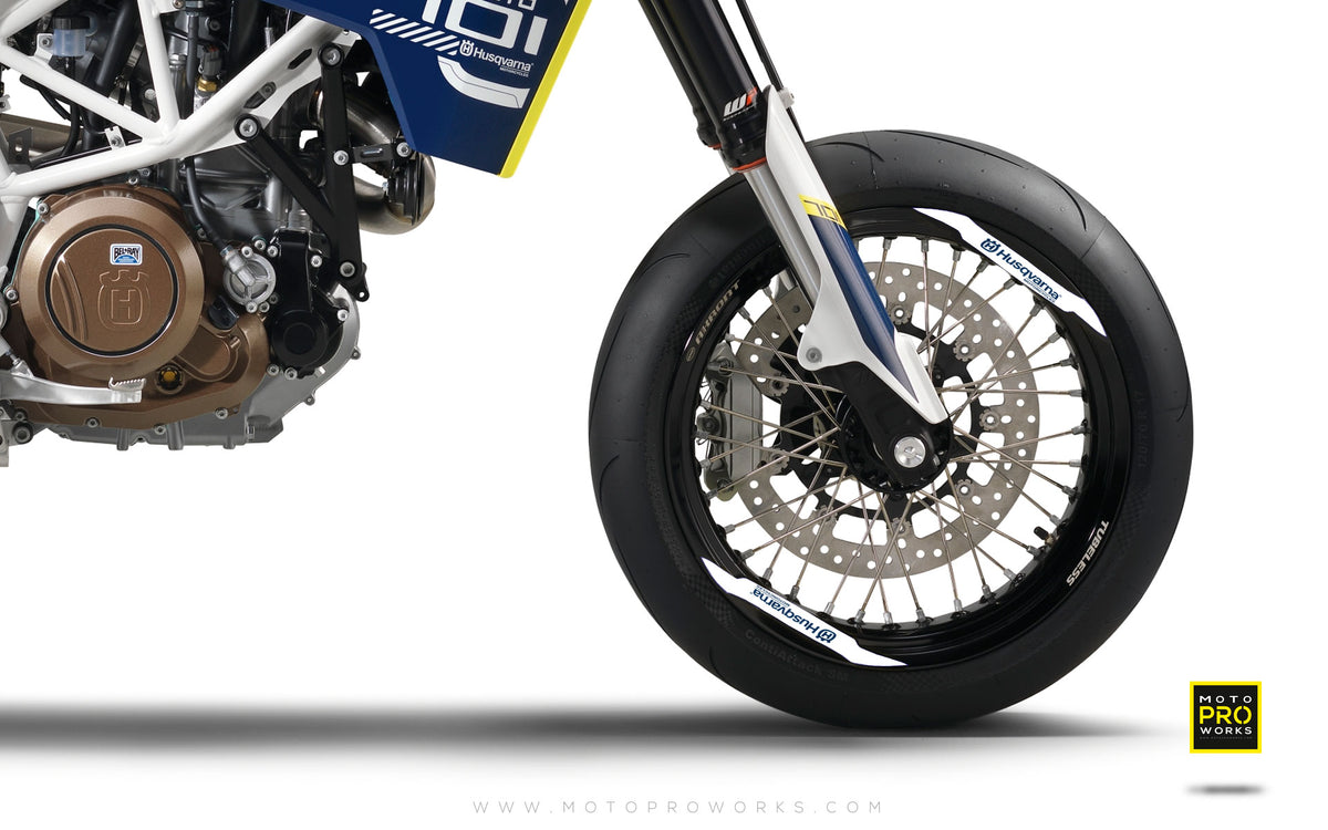 "Rim Decal - ""Husqvarna"" (white/blue) - MotoProWorks 