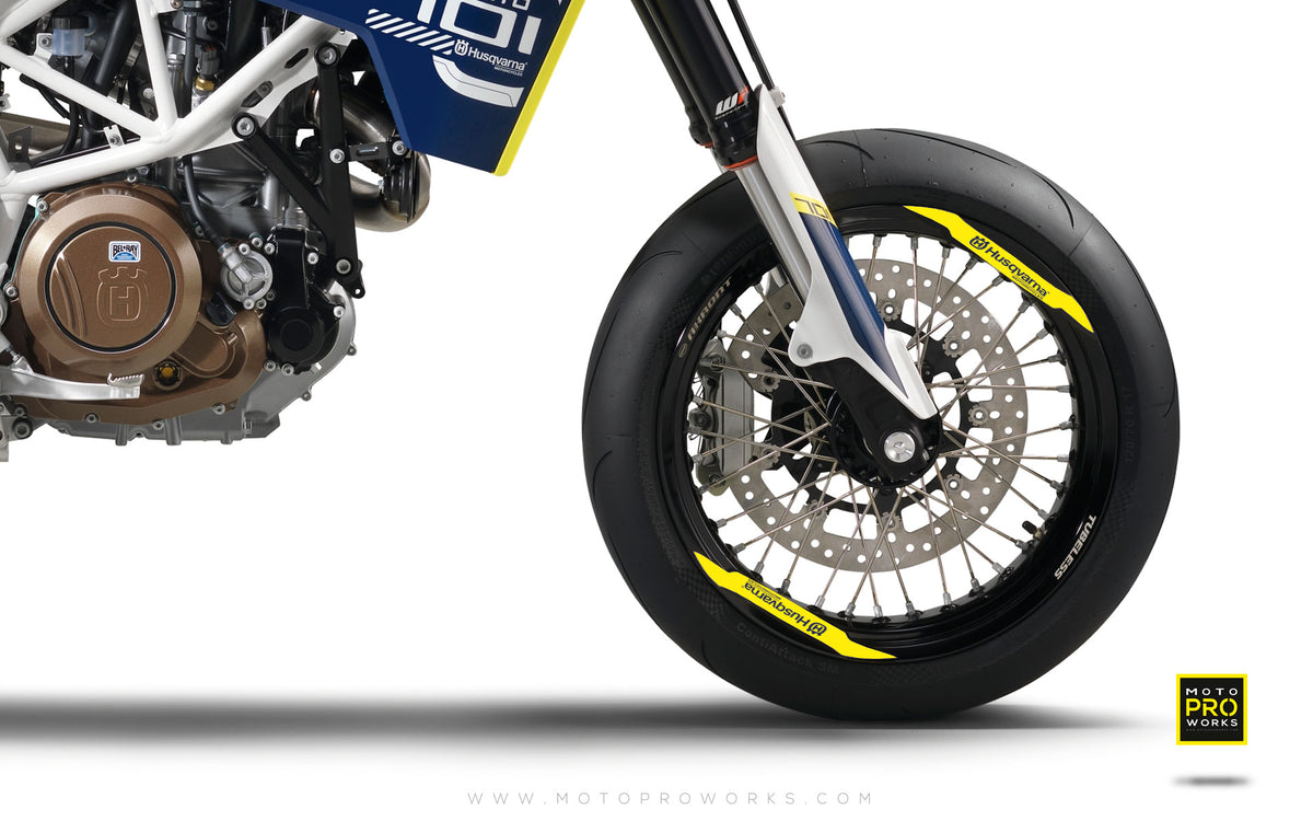 "Rim Decal - ""Husqvarna"" (yellow) - MotoProWorks 