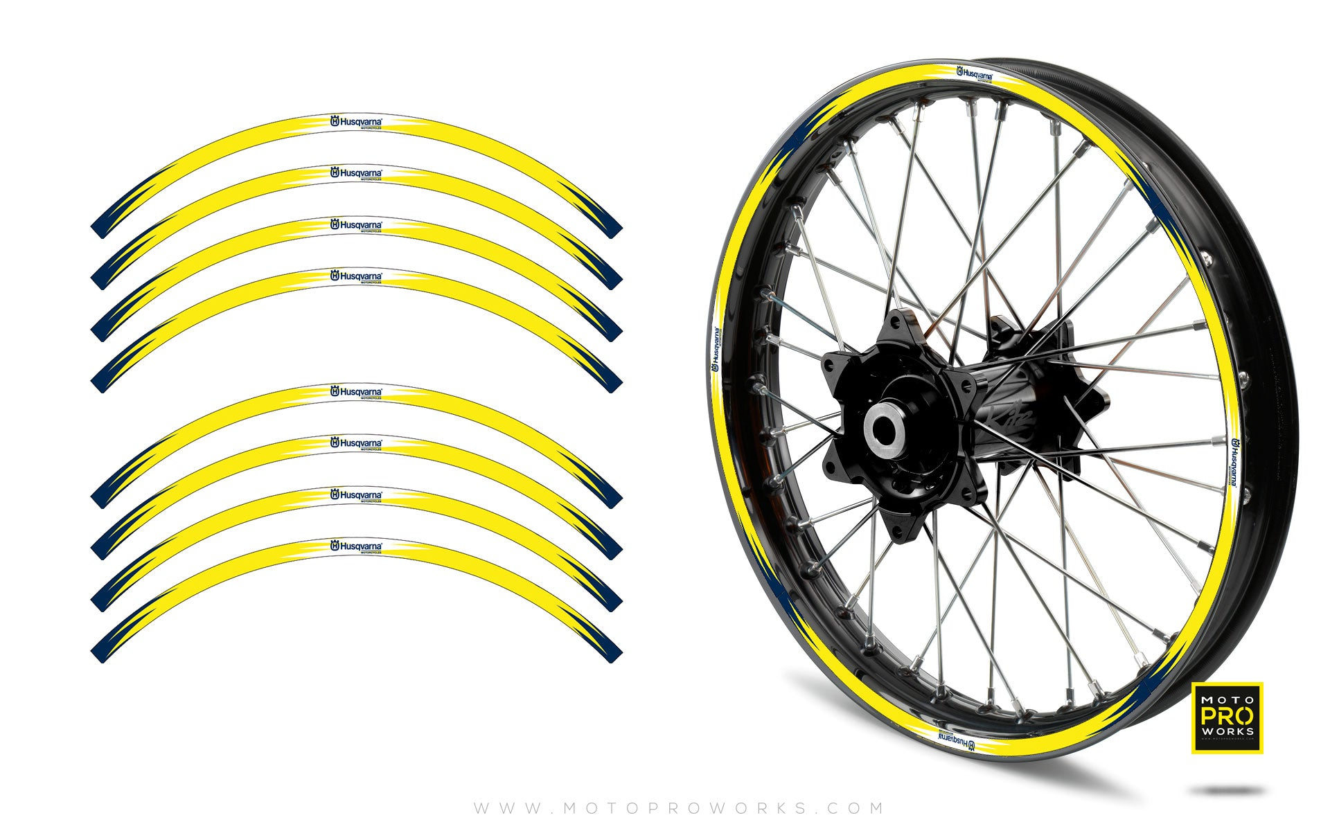 "Rim Stripes - ""FLASH"" Husqvarna (yellow) - MotoProWorks 