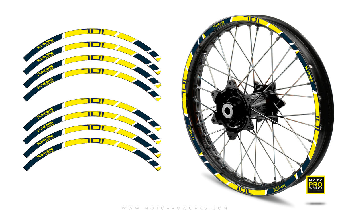 "Rim Stripes - ""POWER"" Husqvarna (yellow) - MotoProWorks 