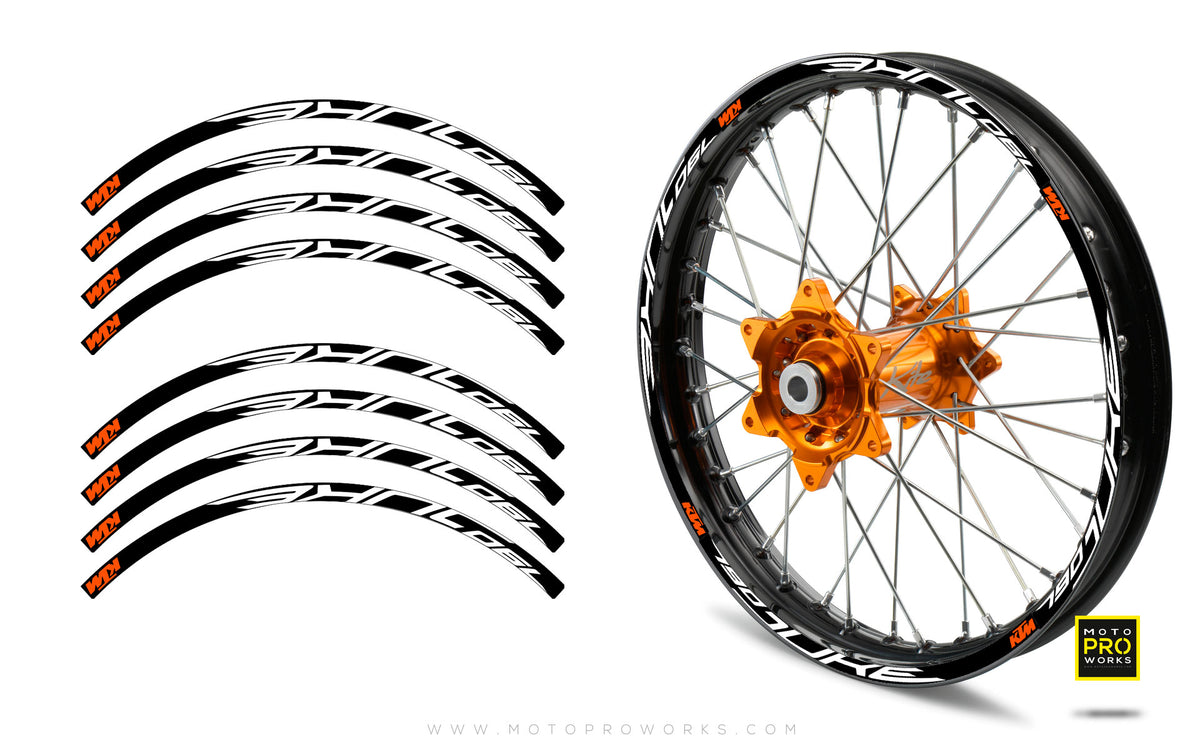 "Rim Stripes - ""790"" KTM (black/orange) - MotoProWorks 