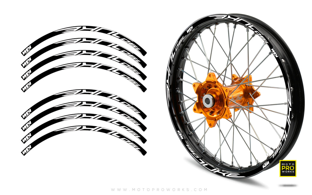 "Rim Stripes - ""790"" KTM (black/white) - MotoProWorks 