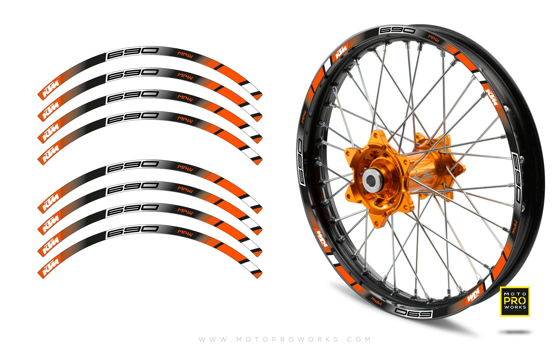"Rim Stripes - ""POWER"" KTM (black) - MotoProWorks 