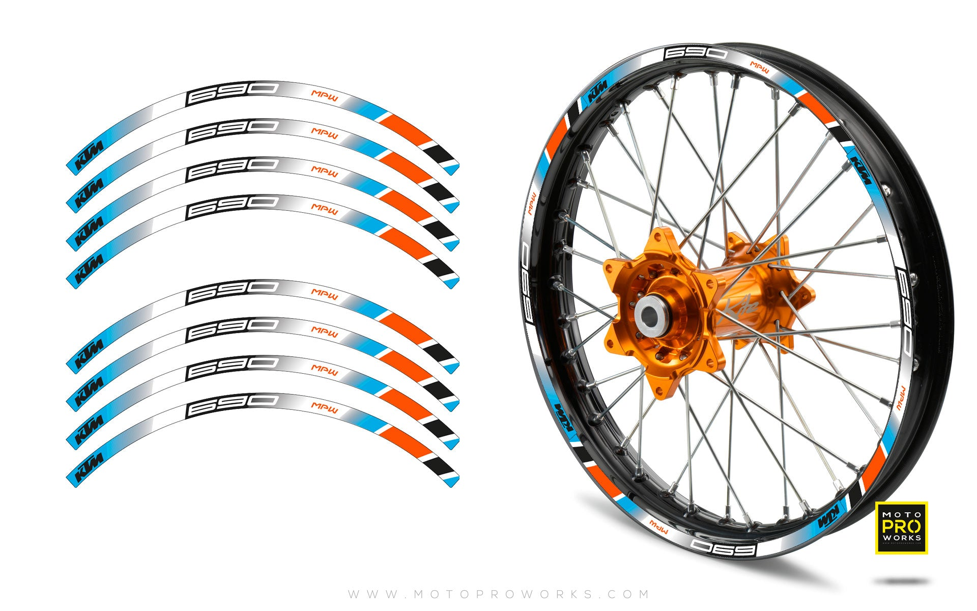 "Rim Stripes - ""POWER"" KTM (blue) - MotoProWorks 