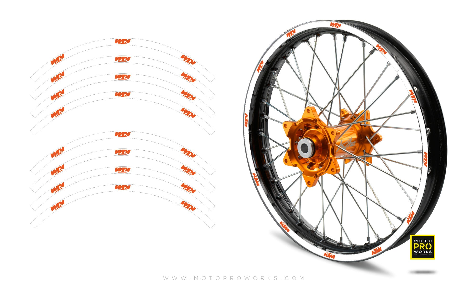 "Rim Stripes - ""SOLID"" KTM (white) - MotoProWorks 